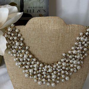 Crystal & Pearl Bib Statement Necklace by Natasha